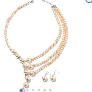 Simulated champagne pearl earrings and necklace